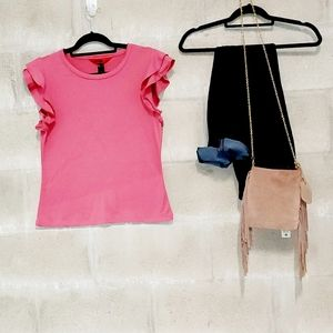 Ruffle sleeve pink stretchy top